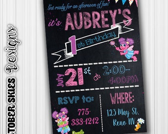 Abby Cadabby Birthday Invitation, Abby Invitation, Chalk Invite, custom digital file, any age