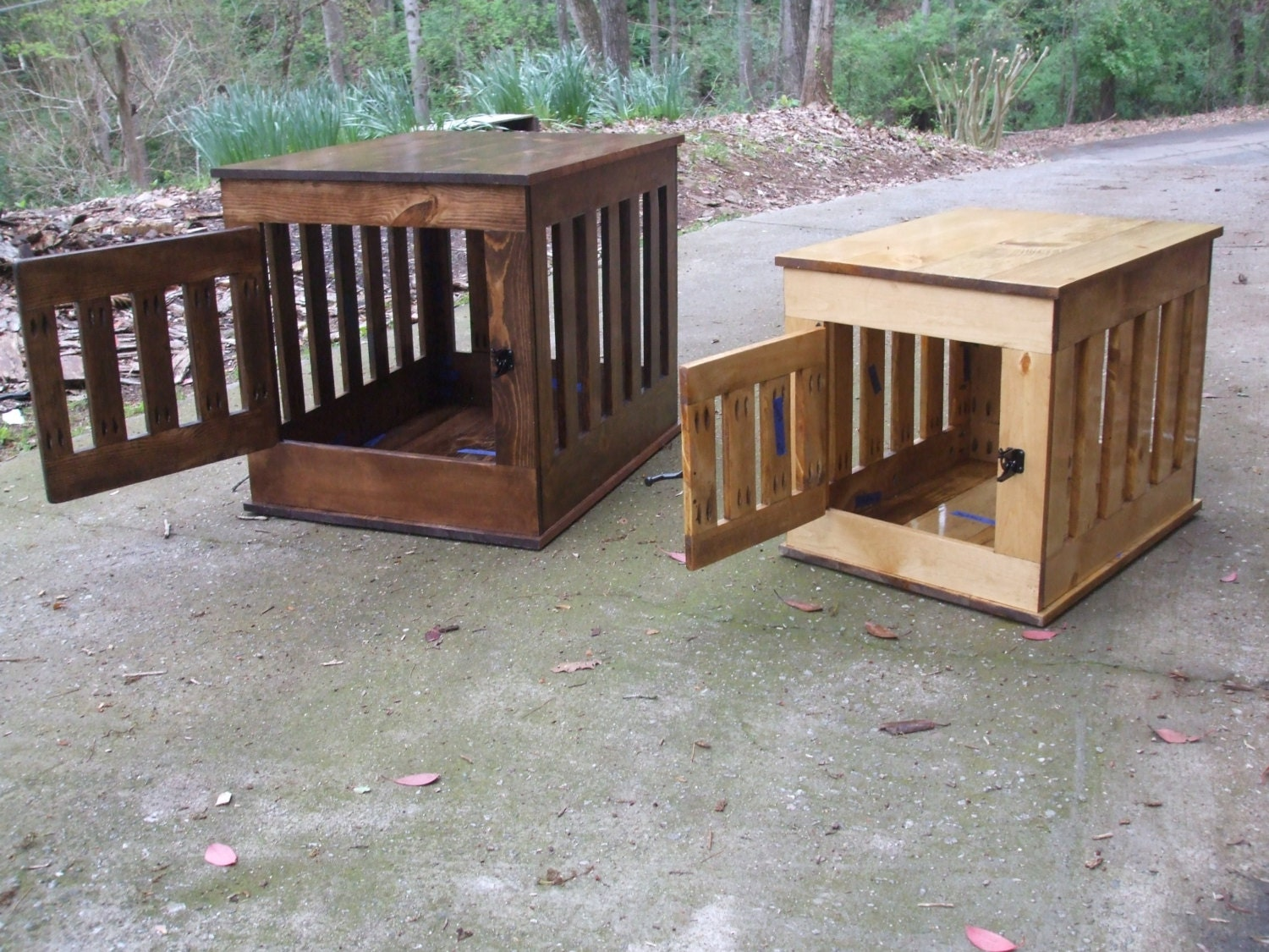 Dog Crate End Table Wooden Dog Kennel Indoor By BlueLineGarage