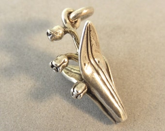 Sterling Silver 3-D LILY of the VALLEY Charm Pendant Flower Garden .925 Sterling Silver New ga45