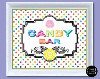 Polka Dot Vintage Frame Candy Bar Sign - perfect for fun parties and late night wedding buffet 8x10 pdf and jpg