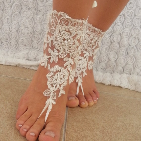 Items Similar To Beach Shoes Bridal Sandals Lariat Sandals Wedding Bridal Ivory Accessories
