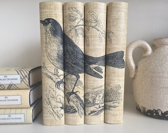 Decorative Books with Bird Book Covers  - Neutral Color Bird Books - Bird Book Set - Book Decor - Custom Book Covers - Custom Book Jackets