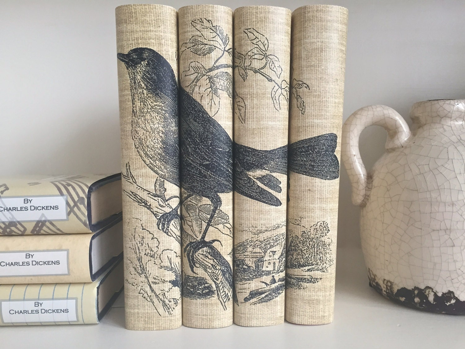 Uncategorized Book Decor decorative books with bird book covers neutral color bird