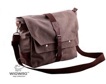 Mens bag, shoulder mens bag, convertible messenger bag, canvas leather bag, tablet mens bag, gray canvas bag, crossbody mens canvas bag