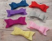 CHOOSE ANY TWO / 30+ Colors - Wool Felt Hair Bow Clip Set / Felt Bow Clip / Felt Hair Bow Set / Felt Bow Accessory / Felt Bow / Felt Clip