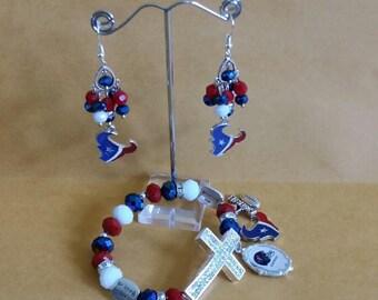 Houston Texans Cross Charm Bracelet and Chandelier Earrings