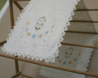 Blue and Yellow embroidered flowers linen table runner