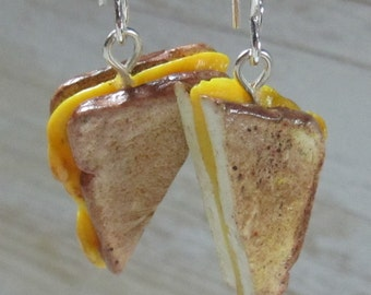 Free Shipping!!! GRILLED CHEESE polymer clay earrings on silver plated ear wires-Handcrafted Jewelry