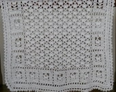 "Crochet Baby Blanket White 26"" x 32"" Heirloom Handmade Afghan Throw Gender Neutral Crocheted Baby Blanket"