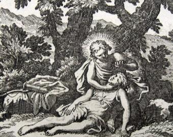 1676 - HYACINTH - Le Clerc / Brun - Ovid Metamorphoses original antique Print Mythology. Ancient Greece Rome. Over 330 years old.