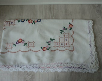 REDUCED French vintage linen hand embroidered  table cloth (01142)