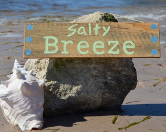 Salty Breeze - Original Hand Painted Sign on Reclaimed Wood