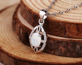 925 Sterling Silver opal necklace, Opal Gemstone necklace, Opal necklace, October Birthstone necklace, White Opal necklace, Bridal necklace