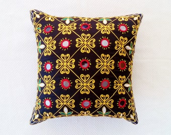 2 mirors Pillow, Indian  Pillow Sham, athnik black Pillow, Decorative Pillow, Sari Pillow, Bohemian Pillow case