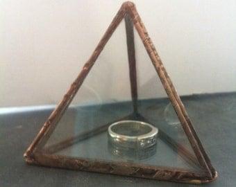 Glass ring proposal box ,copper pyramid box, ring bearer box, jewellery box,  wedding ring box, engagement ring box,