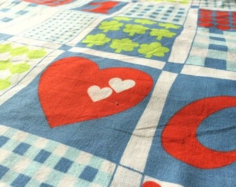German vintage fabric fabric 80x50cm: heart and clover