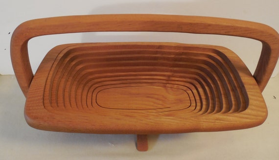 Handmade Collapsible Wooden Baskets : Collapsible wood basket handmade wooden ways ash