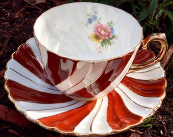 Gladstone Red Twist Teacup and Saucer