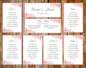 Wedding seating chart (Ornate) PinkDOWNLOAD PRINTABLE Microsoft word or PDF template pink design table plan seating chart dinner chart