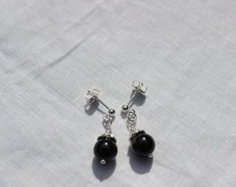 Golden Obsidian Earrings, Post Earrings, Dangle Earrings, Drop Earrings, Sterling Silver Earrings