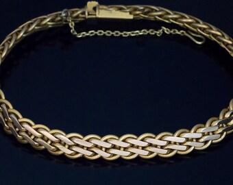 Vintage 14K Greenish Yellow Gold Woven Bracelet