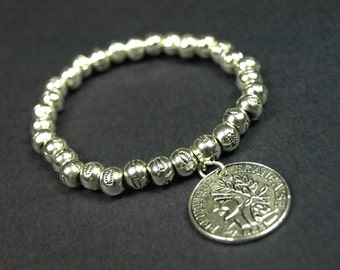 Silver plated bead bracelet with coin