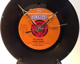 """Recycled THE ARCHIES 7"""" Record • Sugar, Sugar • Record Clock"""