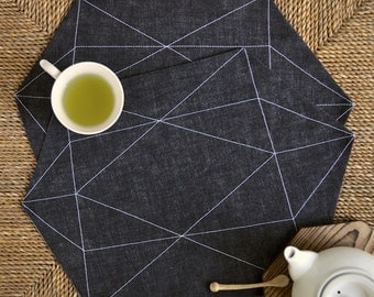 Gem placemats – black denim fabric with white stitching – modern, geometric pattern – set of 2