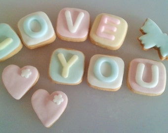 LOVE YOU hand baked personalised message biscuits