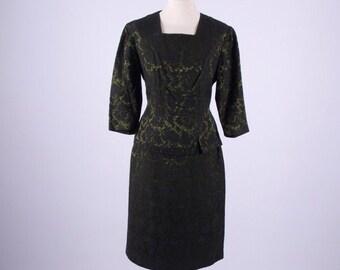 Black & Olive Green Suit Dress