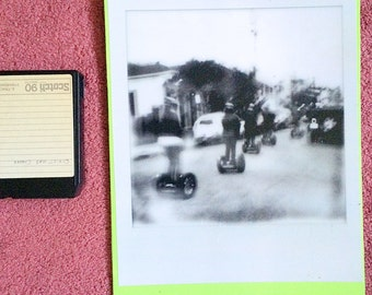 11x14 BIGGEROID polaroid print on canvas decoupage (marigny segways BRIGHT GREEN )