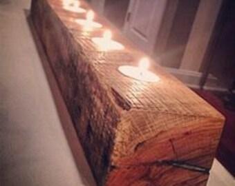 Tea light candle holder,barnwood  candle holder,rustic candle holder,centerpiece, reclaimed wood candle holder,log candle holder