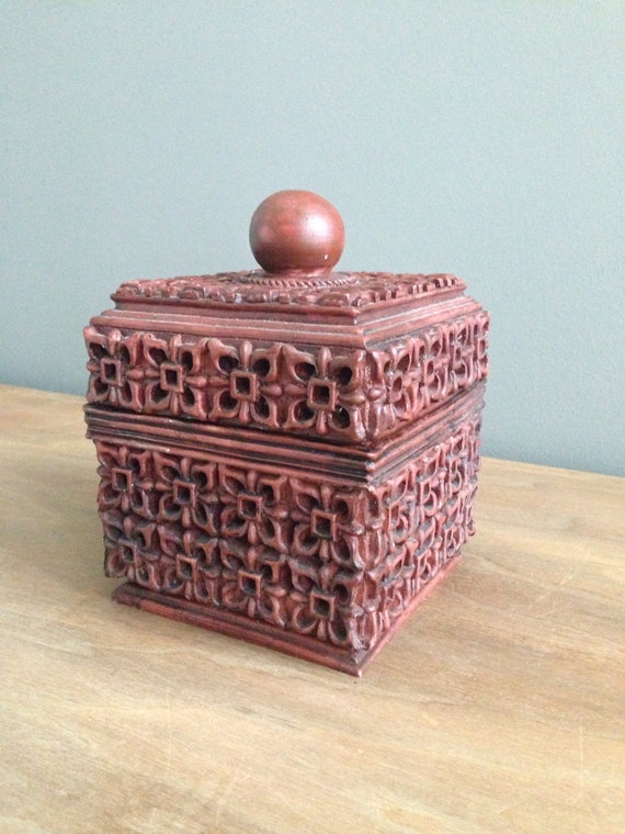 Decorative Box Lid : Decorative carved box with lid by wellcollectedhome on etsy