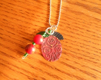Valentine's Day Vintaj inspired Red Rose embossed metal red acrylic beads ball chain necklace