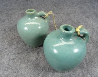 Pair of 2 Matching Miniature Stoneware Jugs