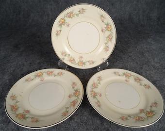 3 x Vintage Homer Laughlin Cashmere Eggshell Georgian Dessert Plates