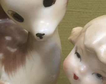 Fantasy Woodland Deer and Angel in Forest Figurine c.1950s