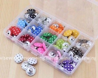 Fabric Covered Buttons/Polka Dot Series 16 Colors/2cm/ Sets of 16pcs
