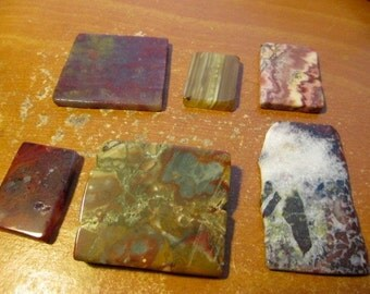 Six Colorful Small Slabs for Cabochons, Pendants, Collecting