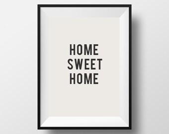Home sweet home, Home Decor, Wall Art, Print, Poster, Motivational, Inspirational Quote, Scandinavian Art, Inspirational, Word Art