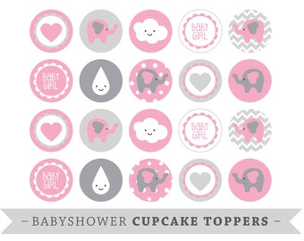 Premium Printable Cupcake Toppers - Babyshower - Pink Elephants - Baby Girl Babyshower - DIY Babyshower Decor