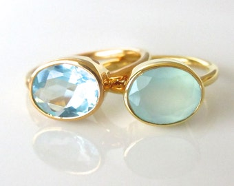 Oval Gemstone Ring - Gold Ring - Stackable Ring - Aqua Ring - Bezel Ring