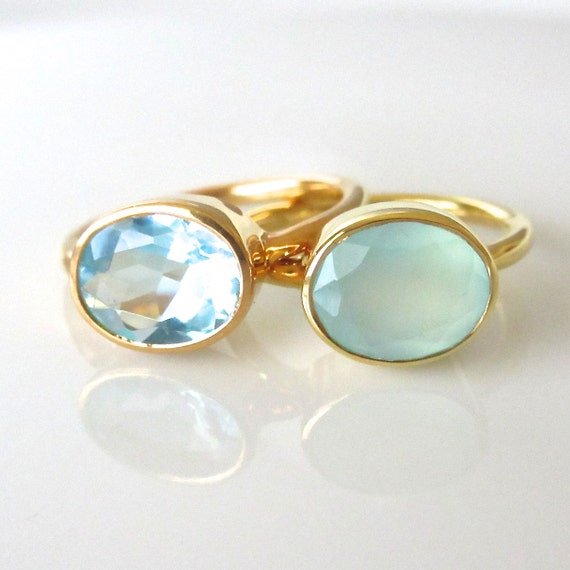 oval gemstone ring gold ring stackable ring by