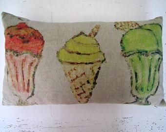 Watercolour Ice-cream Sundae Cushion