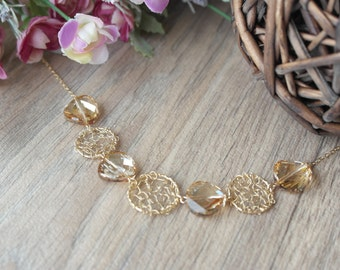 Necklace, Gold Filled , Champagne Swarovsky Crystals Necklace, Jewelry,Necklace
