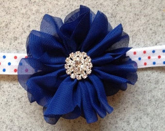 Red white and blue polka dot baby headband