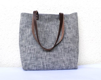 Linen tote bag, Large tote, Organic linen bag, Shoulder bag, Summer bag, Casual tote, Beach bag, Carry all bag,  real leather handles 1