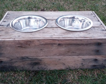 Medium Dog food bowl stand- reclaimed, custom built wooden dog food stand,