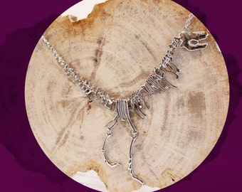 T-rex, dinosaur necklace, statement, jurassic park, fossil, silver necklace