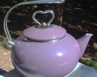 ZERO SHIPPING! Vintage Eggplant Chantal Enamel Ware Coated Steel Teapot w/Heart Lid - Purple